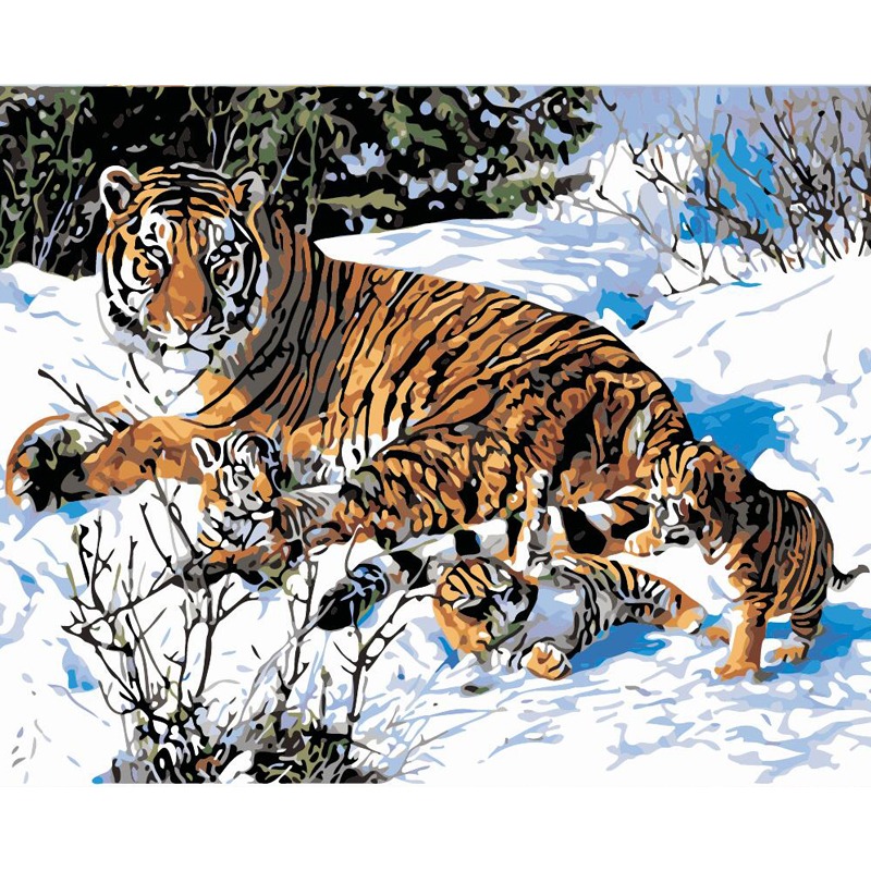 3D animated picture of tiger oil painting by number sets
