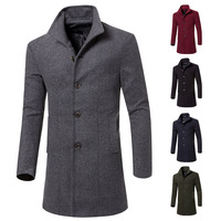 C58084S Wholesale high fashion solid color stand collar men overcoats