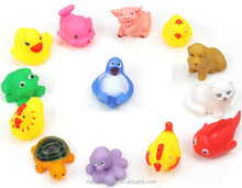 Soft small Plastic Toys Lovely Animals Squeeze Sound toys Baby Bathing Play toys