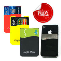 Silicon cell phone back side pouch Smart phone wallet with 3M Sticker