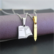 Yiwu Aceon Stainless Steel Leave your Message Gold Silver Book And Pen Wedding Gift Pendant