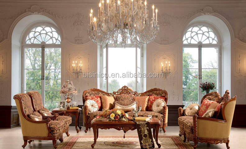 French Style Fabric Sofa Set Classic Sofa Set For Living Room Antique Furni