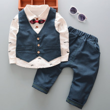 2017 Boy Gentleman Set Vest + T-Shirt + Pants 3pcs Set Fashion Kids Bowknot Bearded Long Sleeve Apparel Child's Clothes Suit