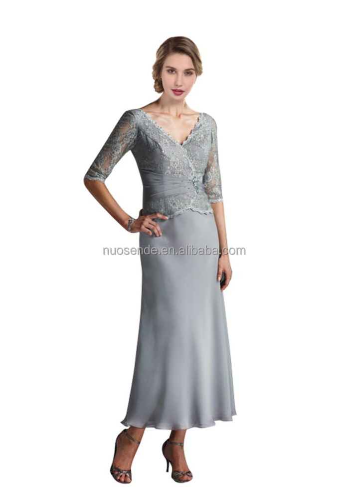 Lace tea length groom mother dresses mother of the bride