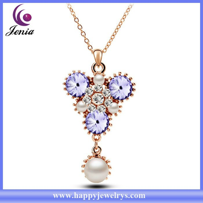 Elegant women pendant design purple <strong>crystal</strong> with white pearl 18k gold necklace (YWN5607-1)