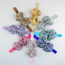 "New 4"" printed animal chiffon baby bows headband for newborn, infant girls,kids hair clip hair accessories WH-1347"