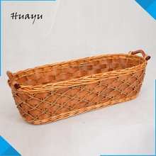 handmade small woven mini square willow flower wicker baskets with plastic liner in folk crafts