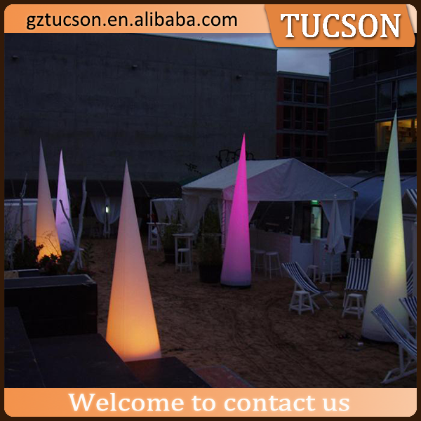 giant standing color change lighting cone inflatable road cited wedding decoration