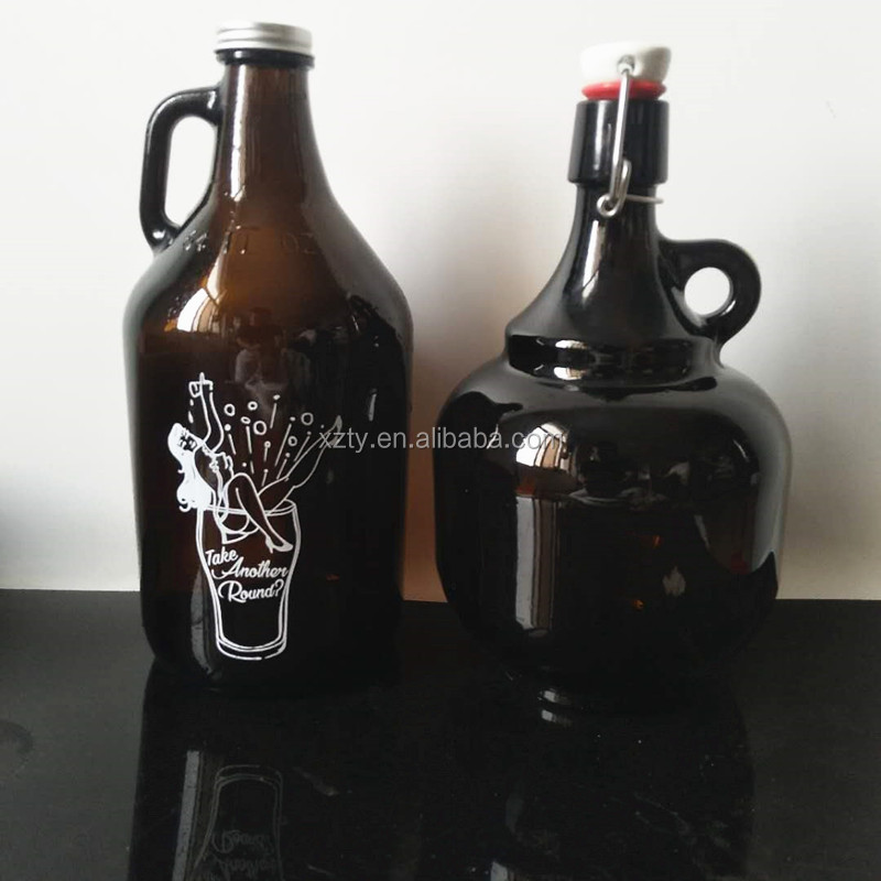 64oz 2Liter Safe Big Strong Thick Glass Bottle with Ceramic Flip Top for Storing Beer