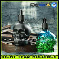Machine made Clear skull perfume glass bottle with alumnium child proof cap ,whisky bottle