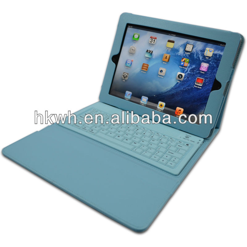 New Factory Leather Bluetooth Keyboard Flip Portfolio PU Case for ipad2/3/4 ipad Air 2