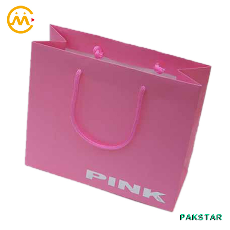 Pink flat handle paper grocery bags with handles