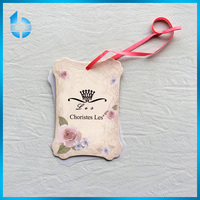 Custom paper card and plastic PVC hangtag withsilk ribbon for robe paysage