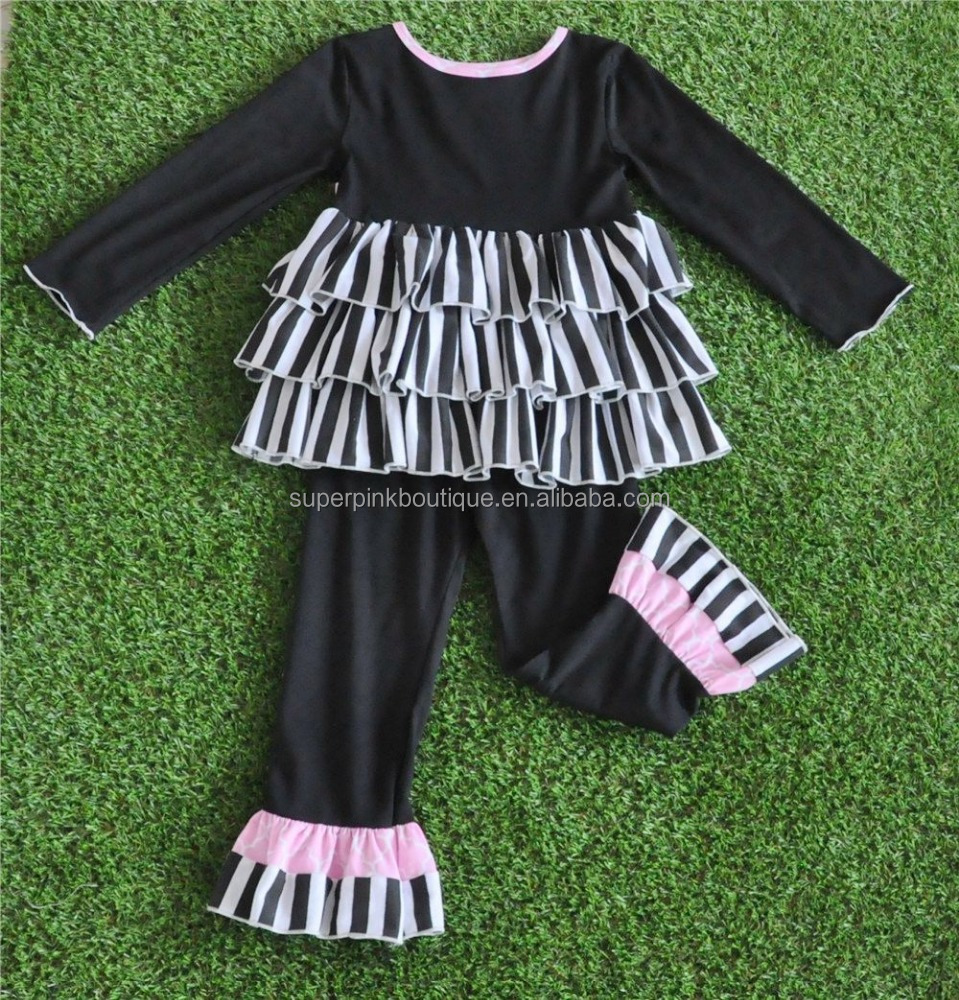 new model girls fall winter black capris ruffle boutique clothing for children's