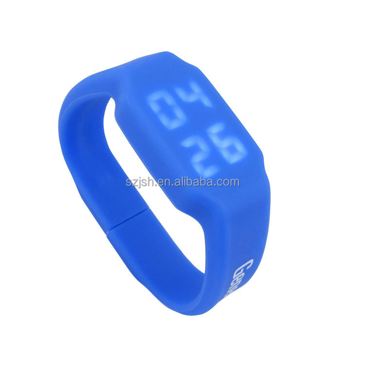OEM custom usb 2.0 led watch bracelet wristband silicone thumb drive in stock