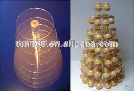 Tiers Crystal Clear Acrylic Round Cake Cupcake Stand Birthday Wedding Display