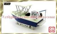 Concept zinc alloy fishing boat 3D desk clock
