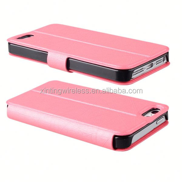 Direct factory price pu leather stand case for iphone 5 new design case for iphone5