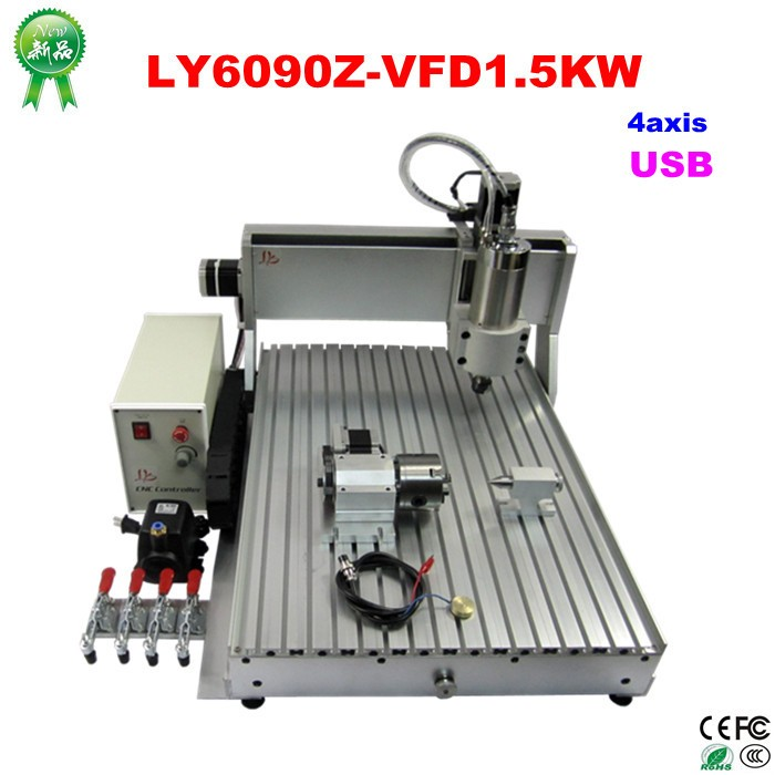 Professional 6090 4 axis mini CNC Router engraving machine with 1.5KW Spindle with USB Port