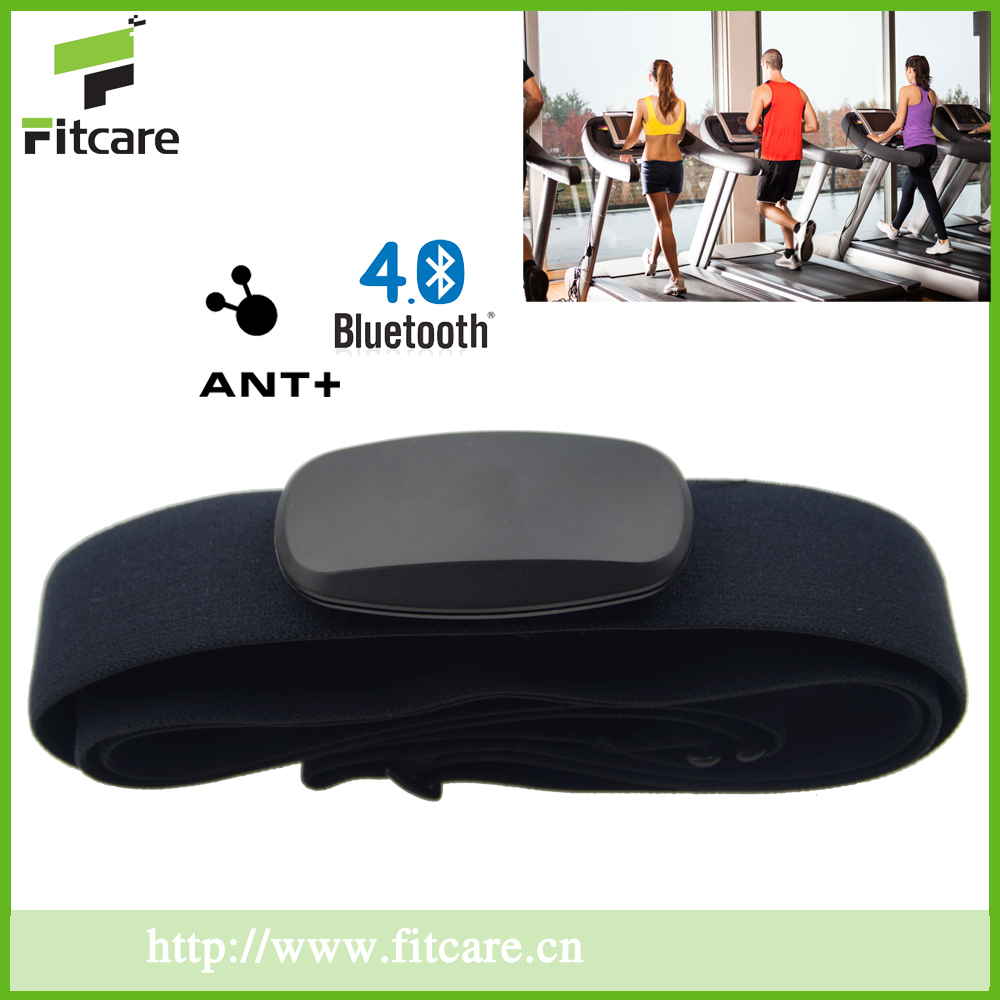 Black Small shape dual mode ANT+Bluetooth heart rate monitor with soft strap