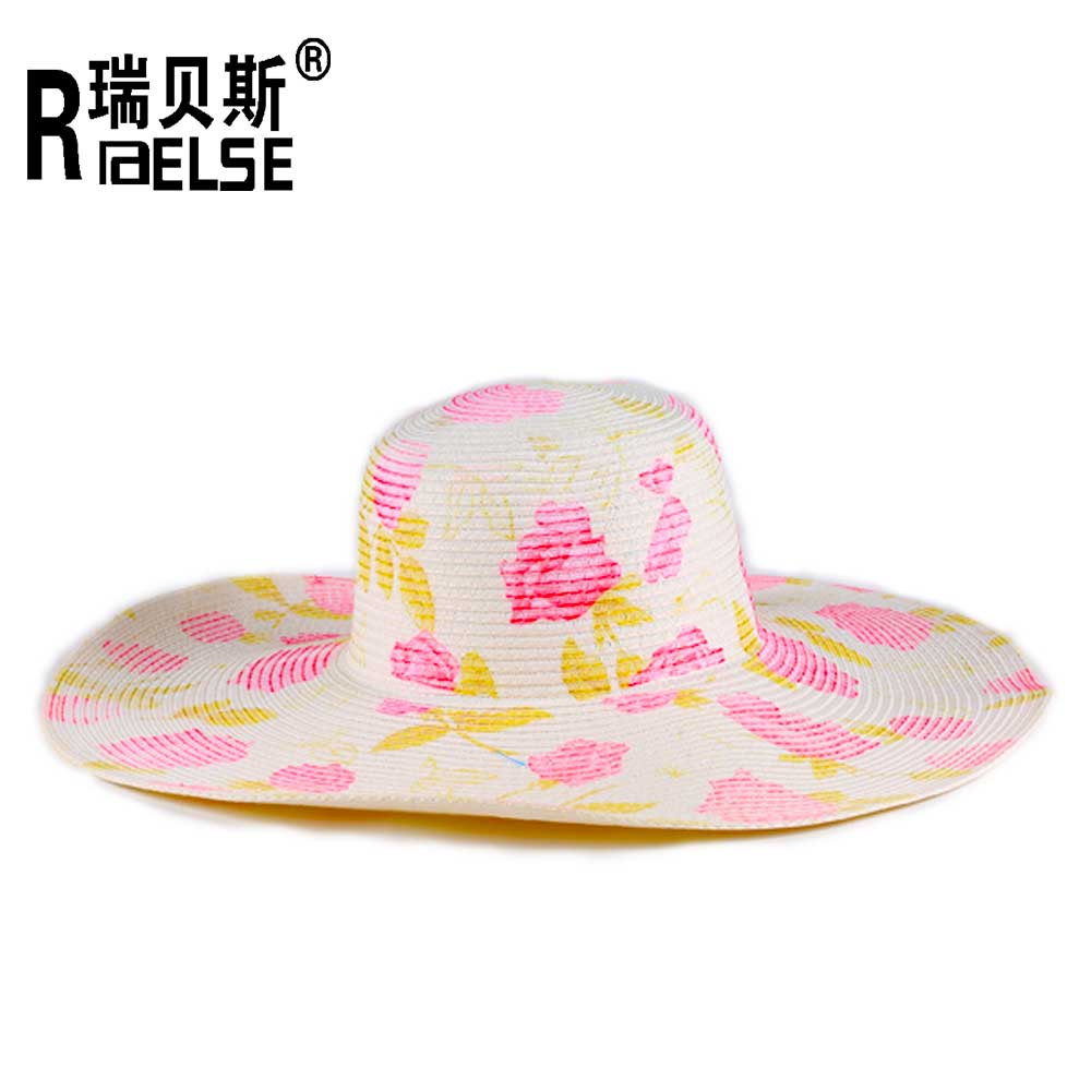 lady hat fashion beautiful customed hat printed beach hat custom