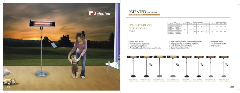 Scientec AH18CSR-SS Remote Control Stainless Steel Stand Patio Heater Manufacture
