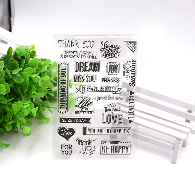 Love&Thanks&Happy&Joy Transparent Clear Silicone Stamp for DIY Scrapbooking/Card Making/Kids Christmas Fun Decoration Supplies