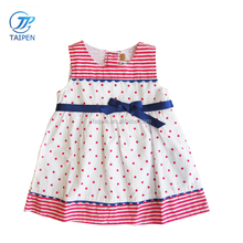 2017 Summer Childrens Boutique Dress Baby Girls Sleeveless Casual Dresses With Bow And Pink Dot