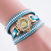 Bling bling rhinestone leather round dial ladies watches for small wrists