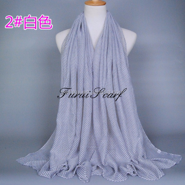 Hot Sale Fashion Women Dot Print 100% Viscose Long Hijab Scarfs Muslim Scarves Muffler Pashmina Big Size