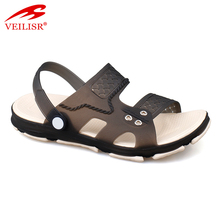 latest design PVC brand fashion men clear jelly sandals