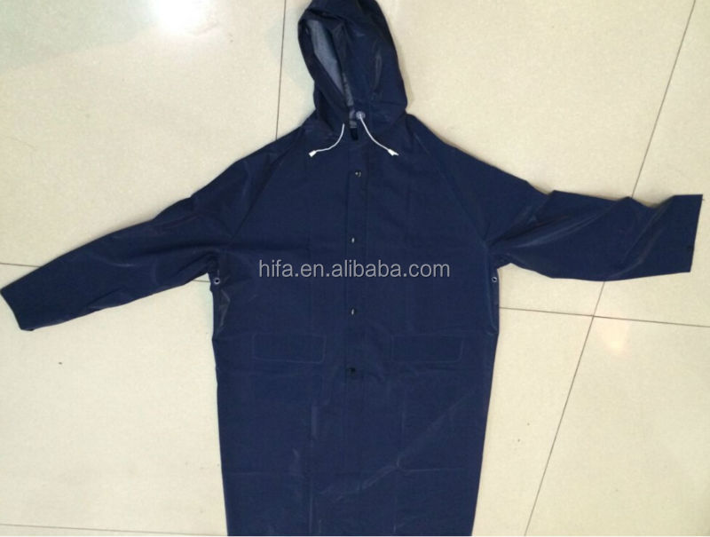 navy blue pvc polyester raincoat/long rain coat