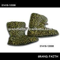 fashion leopard print plush upper indoor boots