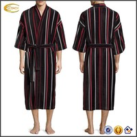 Ecoach Wholesale OEM Men's Three-quarter Sleeves Self-tie Sash Cinches Waist Velour Striped Kimono Bath Robe