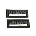 Custom epoxy silicone labels black microfiber leather label patches
