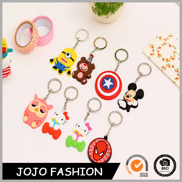 Souvenir 3D rubber soft pvc keyring silicone chain key cartoon shaped key chain
