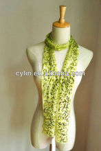 Fashion green pattern handmade beads weaving scarf/belt sequins accessories