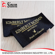 Satin Woven Label/Damask Woven Logo/Adhesive Woven Clothing Labels