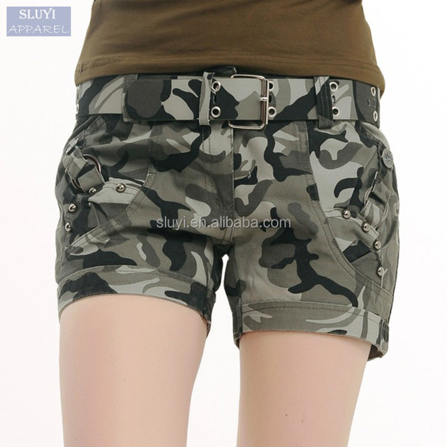 wholesale booty shorts women 2017 Fashion Military Camouflage short pants Summer hot Sexy buttons pockets Plus Size shorts women