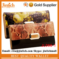Hot Sale Floral Crocodile Texture Ladies Fine Leather Wallet Beautiful Floral Printing Purse