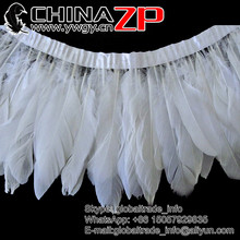 China No.1 ZP Crafts Factory Wholesale Fabric Dyed White Trimming Goose Feathers Trim