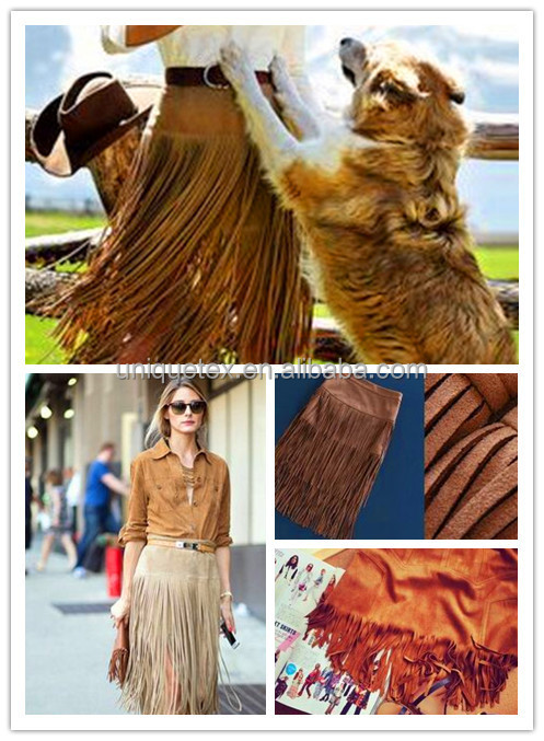 Factory do any design suede fabric tassels for bag/cloth