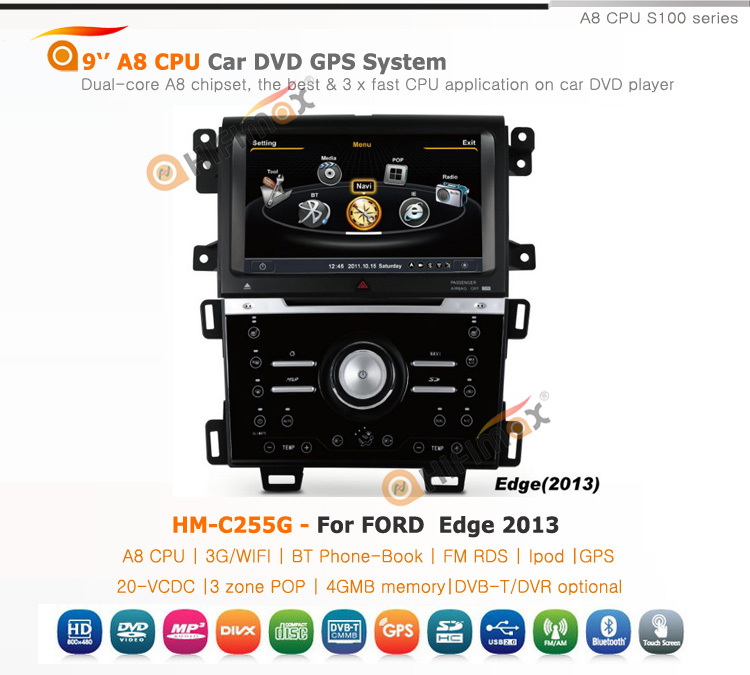 Hifimax car radio navigation FOR Ford Edge 2013 WITH A8 CHIPSET DUAL CORE 1080P V-20 DISC WIFI 3G INTERNET DVR
