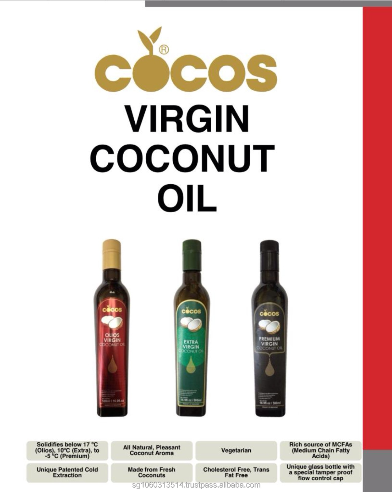 COCOS Premium Organic MCT Oil from Virgin Coconut Oil- Consist of only 99.9% of C8 Caprylic and C10 Capric Acid
