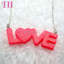 design your own girl glitter chain necklace best friend heart necklace 2016