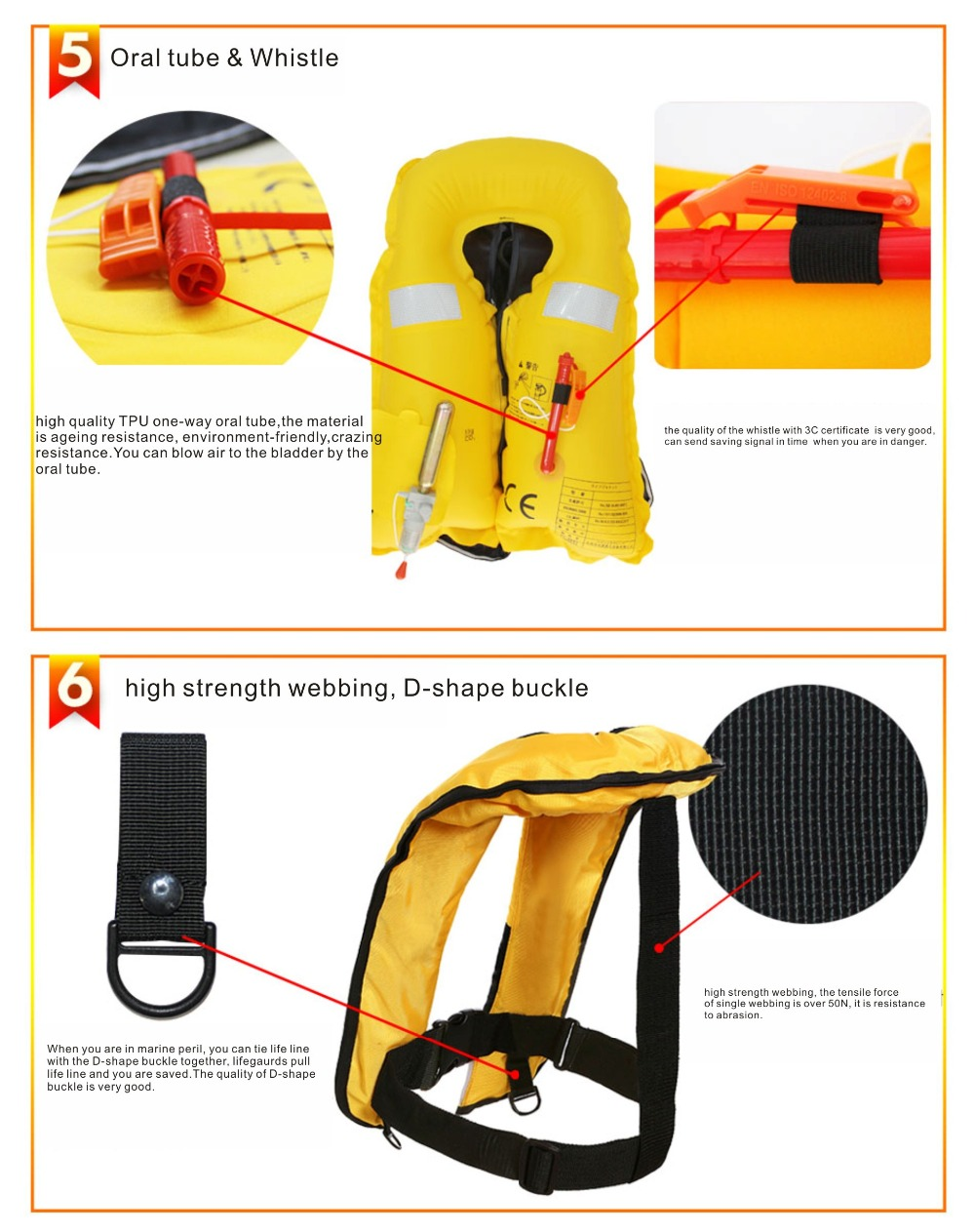 CE approved marine automatic inflatable life jacket