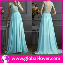 Newest blue O neck sleeveless evening gowns in india