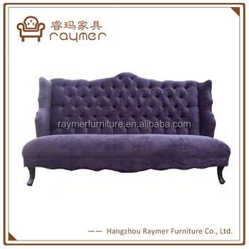 French Country Style Purple Velvet Tufted High Back Luxury Sofa Designs