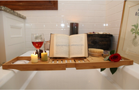 BATH CADDY TRAY BAMBOO BOOK HOLDER EXTEND TUB JACUZZI WOOD LUXURY