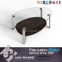 Fashion design living room furniture center glass top coffee table wood coffee table